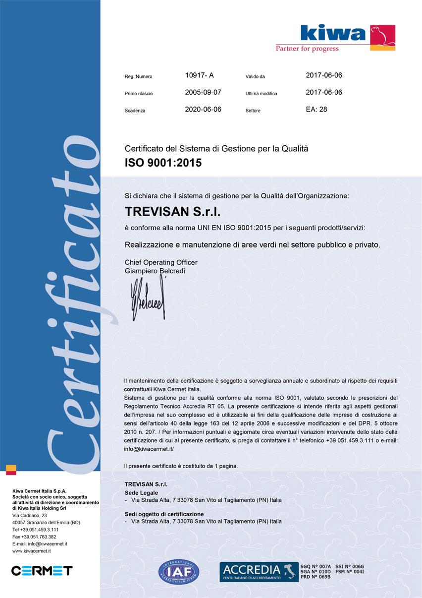 Certificato del sistema di gestione per la qualità Trevisan s.r.l.